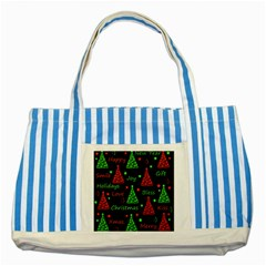 New Year Pattern   Red And Green Striped Blue Tote Bag by Valentinaart