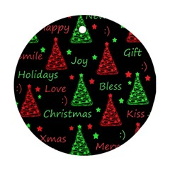 New Year Pattern   Red And Green Round Ornament (two Sides)  by Valentinaart