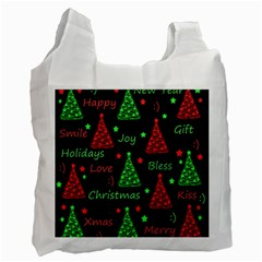 New Year Pattern   Red And Green Recycle Bag (one Side) by Valentinaart