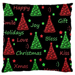 New Year Pattern   Red And Green Large Cushion Case (two Sides) by Valentinaart