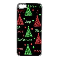 New Year Pattern   Red And Green Apple Iphone 5 Case (silver) by Valentinaart