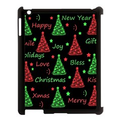 New Year Pattern   Red And Green Apple Ipad 3/4 Case (black) by Valentinaart