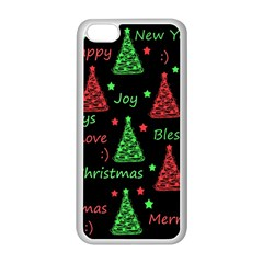 New Year Pattern   Red And Green Apple Iphone 5c Seamless Case (white) by Valentinaart