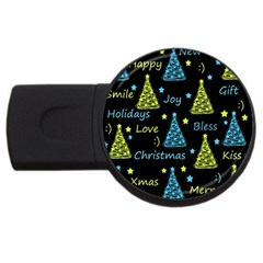 New Year Pattern   Blue And Yellow Usb Flash Drive Round (2 Gb)  by Valentinaart