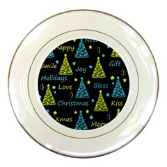 New Year Pattern   Blue And Yellow Porcelain Plates by Valentinaart