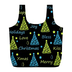 New Year Pattern   Blue And Yellow Full Print Recycle Bags (l)  by Valentinaart