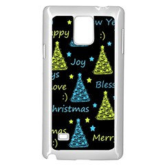 New Year Pattern   Blue And Yellow Samsung Galaxy Note 4 Case (white) by Valentinaart