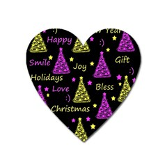 New Year Pattern   Yellow And Purple Heart Magnet by Valentinaart