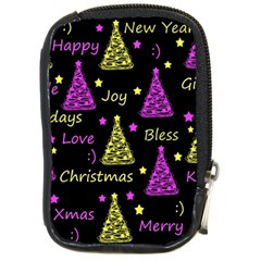 New Year Pattern   Yellow And Purple Compact Camera Cases by Valentinaart