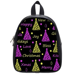 New Year Pattern   Yellow And Purple School Bags (small)  by Valentinaart