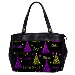 New Year Pattern   Yellow And Purple Office Handbags by Valentinaart