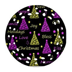 New Year pattern - Yellow and purple Round Filigree Ornament (2Side) by Valentinaart