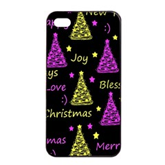 New Year Pattern   Yellow And Purple Apple Iphone 4/4s Seamless Case (black) by Valentinaart