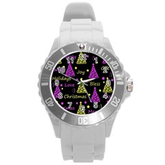 New Year Pattern   Yellow And Purple Round Plastic Sport Watch (l) by Valentinaart