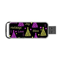 New Year Pattern   Yellow And Purple Portable Usb Flash (two Sides) by Valentinaart