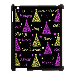 New Year Pattern   Yellow And Purple Apple Ipad 3/4 Case (black) by Valentinaart
