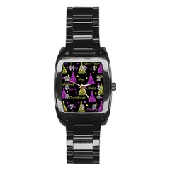 New Year Pattern   Yellow And Purple Stainless Steel Barrel Watch by Valentinaart