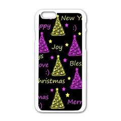 New Year Pattern   Yellow And Purple Apple Iphone 6/6s White Enamel Case by Valentinaart