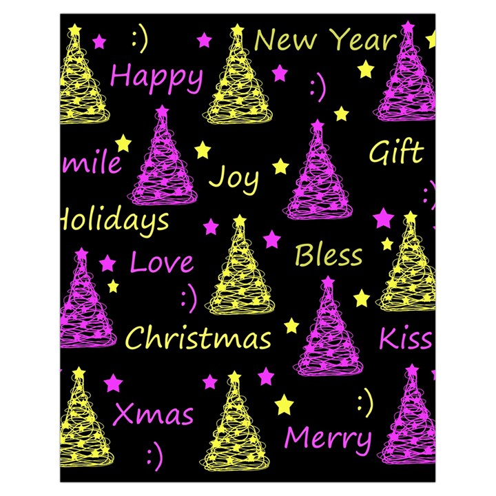 New Year pattern - Yellow and purple Drawstring Bag (Small)