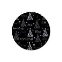 New Year Pattern   Gray Rubber Round Coaster (4 Pack)  by Valentinaart
