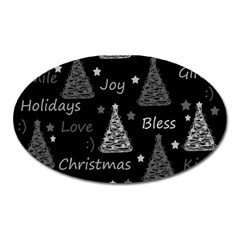 New Year Pattern   Gray Oval Magnet by Valentinaart