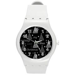 New Year Pattern   Gray Round Plastic Sport Watch (m) by Valentinaart