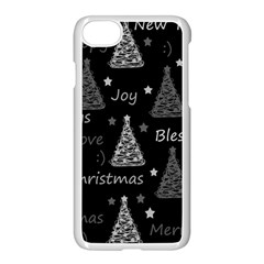 New Year Pattern   Gray Apple Iphone 7 Seamless Case (white) by Valentinaart
