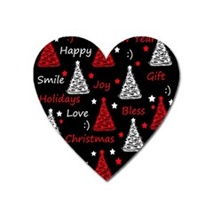 New Year Pattern   Red Heart Magnet by Valentinaart