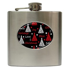 New Year Pattern   Red Hip Flask (6 Oz) by Valentinaart
