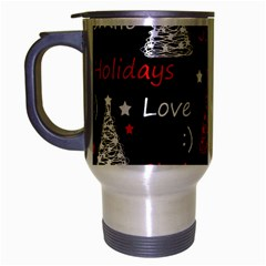 New Year Pattern   Red Travel Mug (silver Gray) by Valentinaart