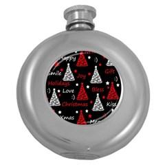 New Year Pattern   Red Round Hip Flask (5 Oz) by Valentinaart
