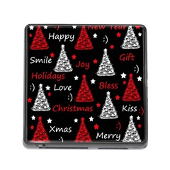 New Year Pattern   Red Memory Card Reader (square) by Valentinaart