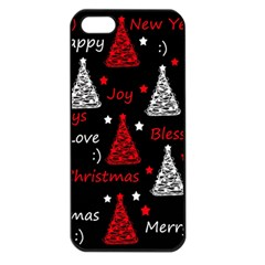 New Year Pattern   Red Apple Iphone 5 Seamless Case (black) by Valentinaart
