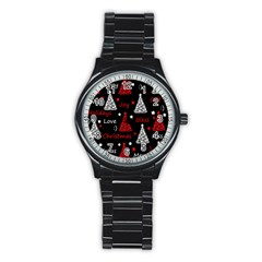 New Year Pattern   Red Stainless Steel Round Watch by Valentinaart