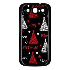 New Year Pattern   Red Samsung Galaxy S3 Back Case (black) by Valentinaart