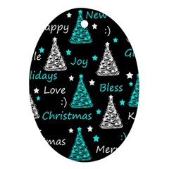New Year Pattern   Cyan Ornament (oval)  by Valentinaart