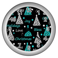 New Year Pattern   Cyan Wall Clocks (silver)  by Valentinaart