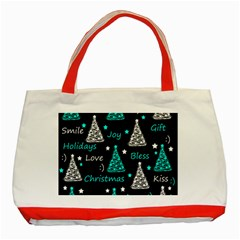 New Year Pattern   Cyan Classic Tote Bag (red) by Valentinaart