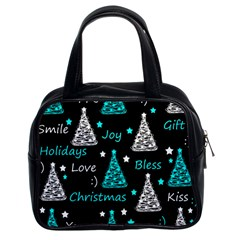 New Year Pattern   Cyan Classic Handbags (2 Sides) by Valentinaart