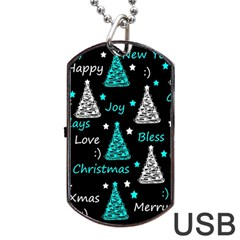 New Year Pattern   Cyan Dog Tag Usb Flash (one Side) by Valentinaart