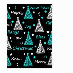 New Year Pattern   Cyan Large Garden Flag (two Sides) by Valentinaart
