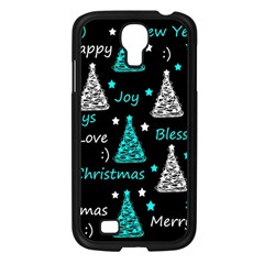 New Year Pattern   Cyan Samsung Galaxy S4 I9500/ I9505 Case (black) by Valentinaart