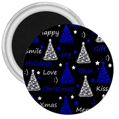 New Year Pattern   Blue 3  Magnets by Valentinaart