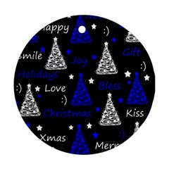 New Year Pattern   Blue Ornament (round)  by Valentinaart