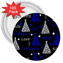 New Year Pattern   Blue 3  Buttons (100 Pack)  by Valentinaart