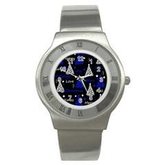 New Year Pattern   Blue Stainless Steel Watch by Valentinaart