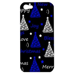 New Year Pattern   Blue Apple Iphone 5 Hardshell Case by Valentinaart