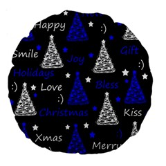 New Year Pattern   Blue Large 18  Premium Flano Round Cushions by Valentinaart