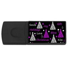 New Year pattern - purple USB Flash Drive Rectangular (1 GB)  by Valentinaart