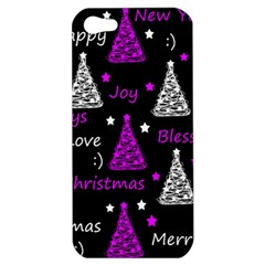 New Year Pattern   Purple Apple Iphone 5 Hardshell Case by Valentinaart